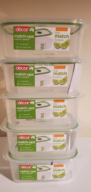 Realseal food storage containers NEW SET OF 5 like tupperware for Sale in Orlando, FL