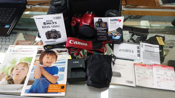 Canon EOS Rebel T5 Red Finish Digital SLR Camera w/ 18-55mm & 75-300mm Lenses & Speedlite 270EXII Flash & Case