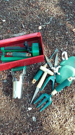 Gardening tools with red metal storage carry box for Sale in Lake Oswego, OR