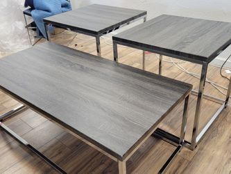 3 PC Coffee Table Set Chrome Grey for Sale in Fresno,  CA