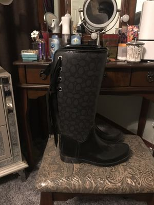 Coach black tie up rain boots for Sale in Lynnwood, WA