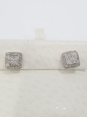 Black Friday Special Real 10k White Gold .50CT Diamond Squared Round Cut Halo Earrings for Sale in Richmond, TX