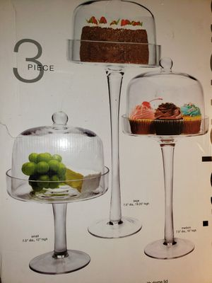 Glass Cake and Dessert Pedestals with Dome Lids for Sale in Rancho Cucamonga, CA