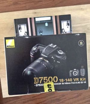 New Nikon dslr camera D7500 kit with 18-140 lens 3.5-5.6 - VR kit. Sealed box. for Sale in Los Angeles, CA