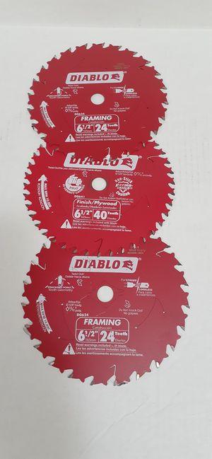 "Diablo 6-1/2"" circular saw 2 blades framing 24 teeth 1 plywood 40 teeth 3 for $20 brand new nuevo for Sale in San Bernardino, CA"