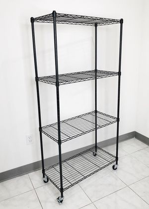 "New $50 Metal 4-Shelf Shelving Storage Unit Wire Organizer Rack Adjustable w/ Wheel Casters 30x14x61"" for Sale in Whittier, CA"