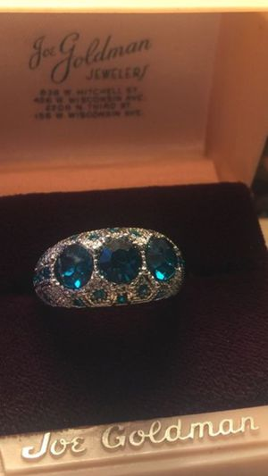 Teal blue sapphires on domed sterling silver band sz7 for Sale in Northfield, OH