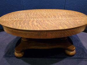 Quarter Sawn Tiger Oak oval Double pedestal Coffee Table for Sale in Dowling, MI
