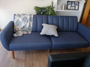 Absolutely beautiful blue futon sofa designer quality 3 positions for back $269.99 new for Sale in Phoenix, AZ
