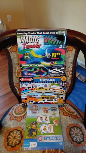 Glow in the Dark Magic Trax, Melissa & Doug Traffic Jam Floor Puzzle and Paw Patrol Matching game for Sale in Mint Hill, NC