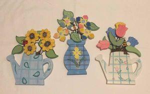 Set of 3 kitchen wall plaques teapot vase flowers 3 dimensional painted wood for Sale in Phoenix, AZ