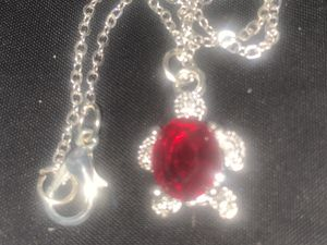 925 silver stimulated ruby turtle pendant with chain for Sale in Downers Grove, IL