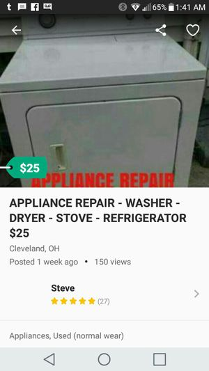 WASHER-DRYER-REFRIGERATOR-STOVE REPAIR $25 for Sale in Cleveland, OH