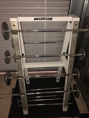 Maxicam Barbell Set and Rack for Sale in Costa Mesa, CA