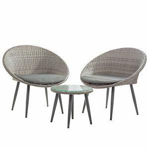 3 Pieces Wicker Patio Conversation Bistro Set in Gray Home Garden Furniture for Sale in Los Angeles, CA
