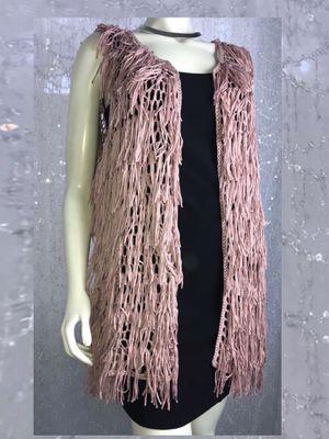 BRAND NEW! Xhilaration - Womens Blush Solid Open Knit Super Cute Boho Fringe Vest - Size OS for Sale in Riverside, CA