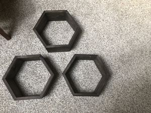 Set of 3 handcrafted floating wood hexagon shelves for Sale in San Jose, CA