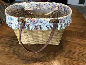 Longaberger basket, liner and protector for Sale in Lebanon, OH
