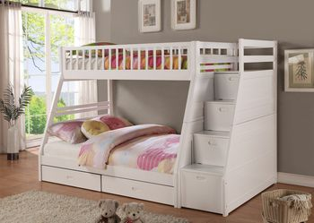 WHITE FINISH TWIN OVER FULL SIZE BUNK BED FRAME STAIRCASE CHEST - CAMA LITERA MATRIMONIAL for Sale in Bell Gardens,  CA