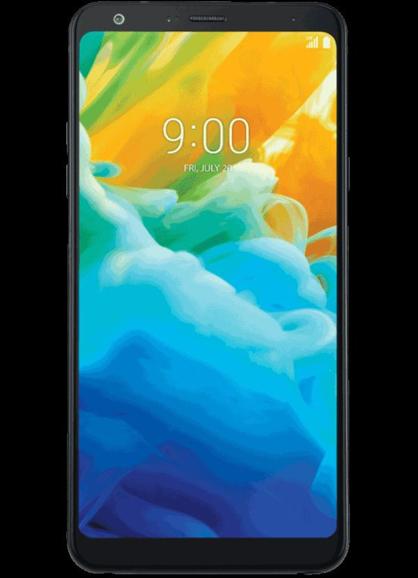 LG Stylo 4 with Bluetooth headphones and chargers