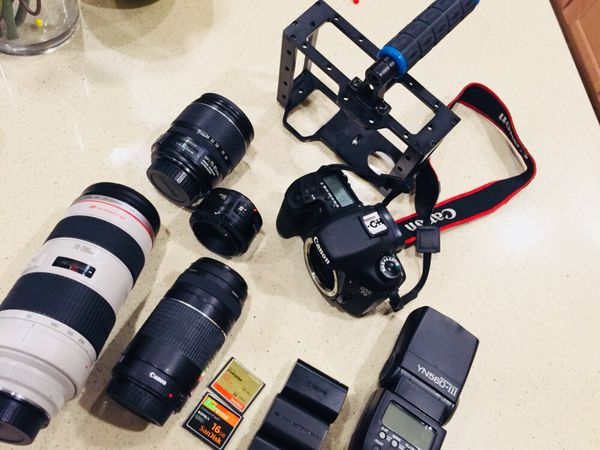 Canon 7D eos with 4 lenses, 3 batteries,2 sd cards, flash, and steady cam holder