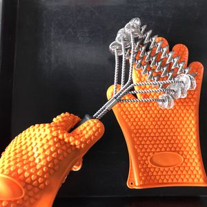 New Stainless Steel Triple Helix Bristle Free BBQ Grill Cleaning Brush with Gloves for Sale in Riverside, CA