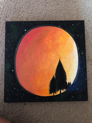 "Original hand painted ""blood moon"" painting! for Sale in Portland, OR"