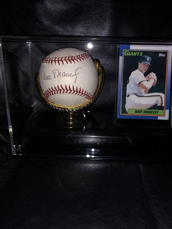 Autographed Baseball by Dave Dravecky, SF Giants in Gold Glove Deluxe Ball & Card Holder Display Case! Beautiful Piece of the Giants Pitcher!