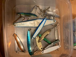 Fishing lures irons tackle box for Sale in Long Beach, CA