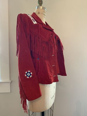 Red Leather Fringe Jacket / Size M for Sale in Miami, FL