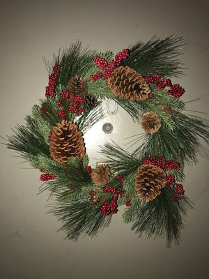 Christmas Wreath Artificial with Pine Cones and Holly Berries for Sale in Los Angeles, CA