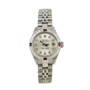 Rolex Datejust- 26mm Stainless Steel Watch Silver Diamond Dial Ruby Bezel for Sale in Los Angeles, CA