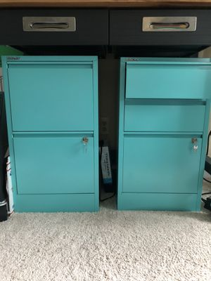 Bisley aqua file cabinets for Sale in Herndon, VA