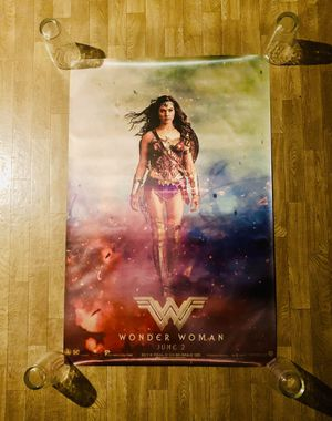 """Wonder Woman Fabric Movie Poster - 24"""" X 36"""" - Mint Condition for Sale in Burien, WA"""