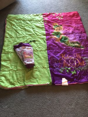 Tinkerbell sleeping bag with case - zipper in perfect condition & no rips or tears for Sale in Las Vegas, NV