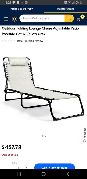 Foldable Camping Fishing Patio Chaise Lounge Chair for Sale in Riverside, CA