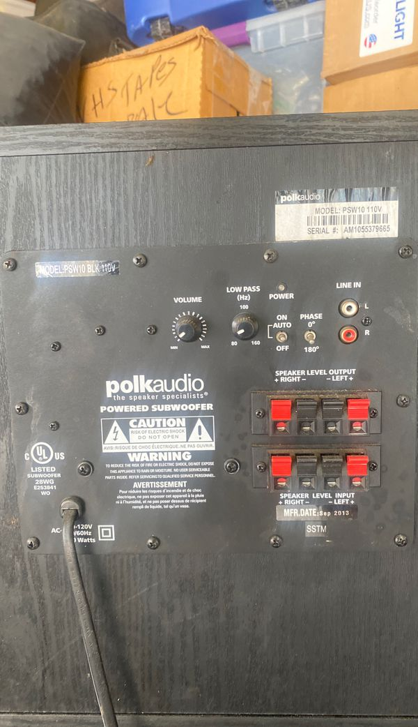 "Polk Audio 10"" Home Audio Subwooffer 100w Preamp"