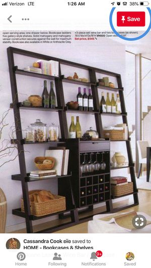 CRATE AND BARREL TALL WINE AND MIXER RACK...EXPRESSO COLOR $500 Brand New in Store!! Other photos are newer model $400+tax and not as well made for Sale in Arlington, VA