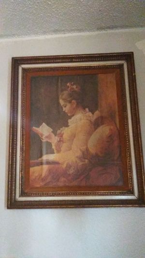 Vintage painting of girl reading for Sale in Tulsa, OK