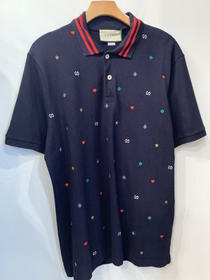 Gucci Men's Blue Multi Logo Polo Shirt size XL for Sale in Los Angeles, CA