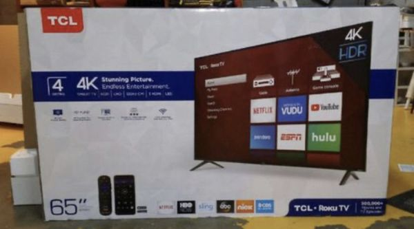 "65"" TCL roku smart 4K led hdr tv"