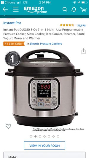 Instant Pot DUO80 8 Qt 7-in-1 Multi- Use Programmable Pressure Cooker, Slow Cooker, Rice Cooker, Steamer, Sauté, Yogurt Maker and Warmer for Sale in San Francisco, CA