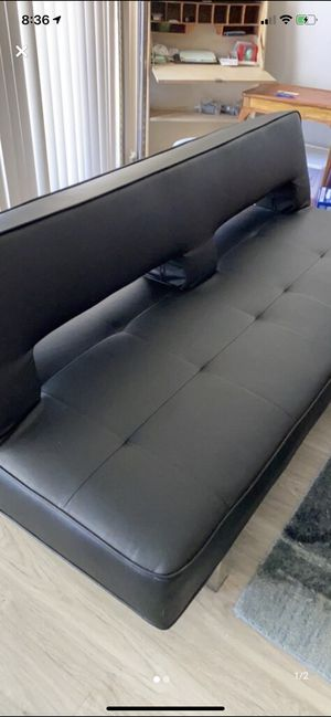 Black leather futon for Sale in West Hollywood, CA