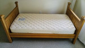 Twin wooden bed frame with Sealy Posture PremierX mattress. Like new! Super comfortable! for Sale in Southington, CT