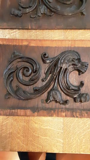 Pair Antique architectural carved roaring lion for Sale in Kingston, WA