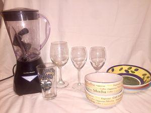 Kitchenware - blender, wine glasses, dishes, plate holders, wine bottle holder and wine butler for Sale in Virginia Beach, VA