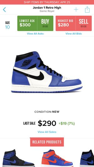 Size 10 brand new in the box with og all game royal Jordan 1 Retro for Sale in Washington, DC