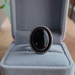 Vintage Navajo Ring Onyx Sterling size 6.5 - Signed - Native American for Sale in Denver, CO