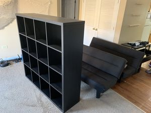 All Free! Two sofa bed futons, ikea shelf, rug, retractable coffee table for Sale in Chicago, IL
