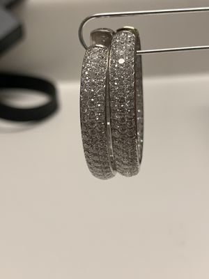 Jona white Diamond 18k white Gold inside-out Diamond pavé hoop earrings for Sale in Austin, TX